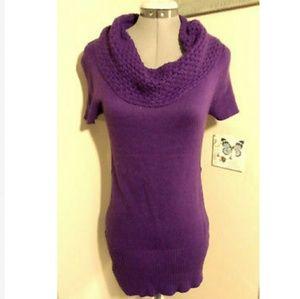 TAKEOUT Cowl Sweater Dress M Plum Purple pencil